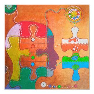 Vegan puzzle 5.25x5.25 square paper invitation card