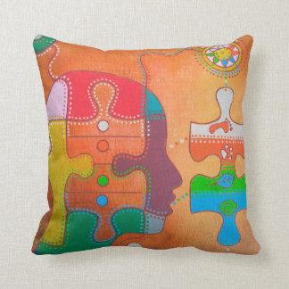 Vegan puzzle throw pillow