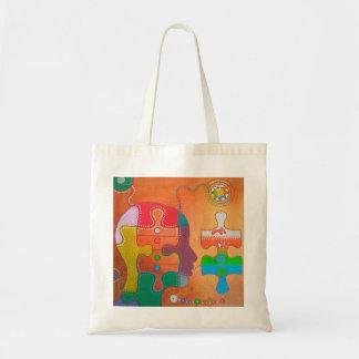 Vegan puzzle tote bag