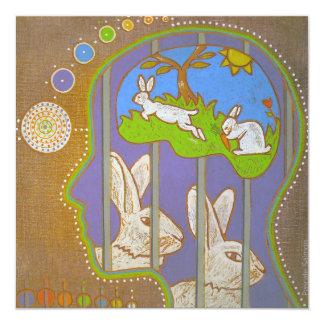 Vegan rabbit release 5.25x5.25 square paper invitation card