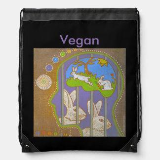 vegan rabbits release drawstring bag