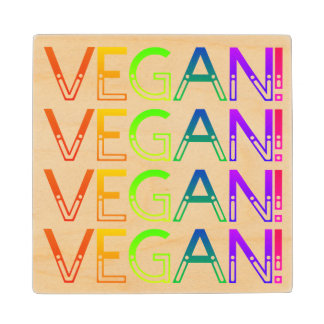 Vegan Rainbow Cut Out Lettering Wood Coaster