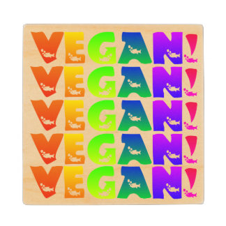 Vegan Rainbow Fish Lettering Wooden Coaster