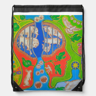 Vegan release drawstring bag