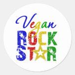 Vegan Rock Star 2 Round Stickers