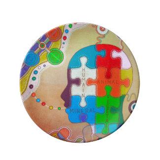 Vegan rompecabezas plato de cerámica
