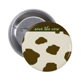 Vegan SAVE THE COW Brown Pinback Button