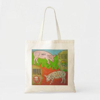 Vegan sentient animal tote bag