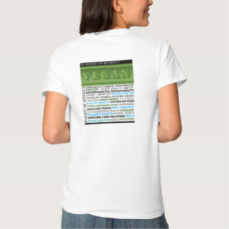 Vegan shirt with a list of reasons to go vegan