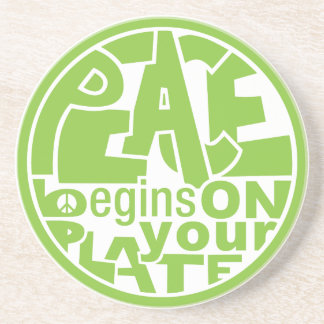 Vegan Slogan Peace Begins On Your Plate Drink Coaster