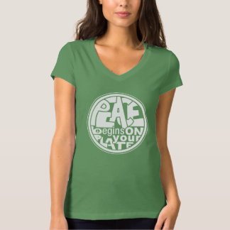 Vegan Slogan Peace Begins On Your Plate Tshirt