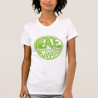 Vegan Slogan Peace Begins On Your Plate T-shirts