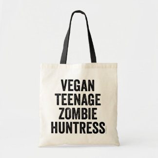 Vegan Teenage Zombie Huntress tote bag Budget Tote Bag
