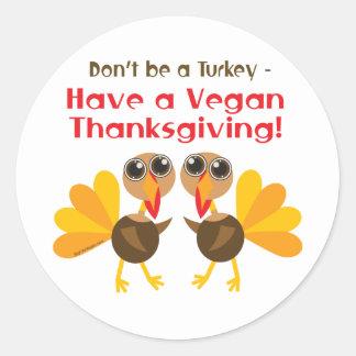 Vegan Thanksgiving Classic Round Sticker