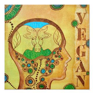 Vegan think 5.25x5.25 square paper invitation card