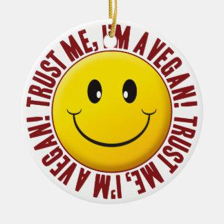Vegan Trust Smiley Round Ceramic Decoration