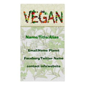 Vegan Vegetables Double-Sided Standard Business Cards (Pack Of 100)