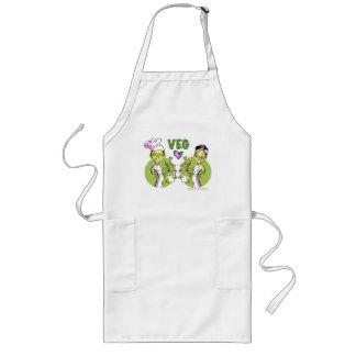 vegan-vegetarian asian-couple-cook long apron