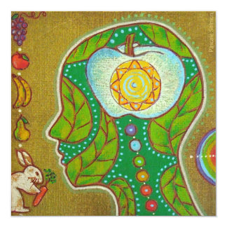 Vegan will chakras 5.25x5.25 square paper invitation card
