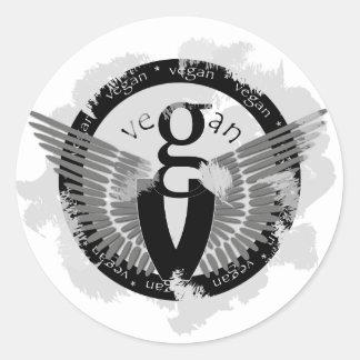 Vegan wings classic round sticker