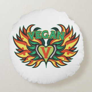 Vegan Wings Round Pillow