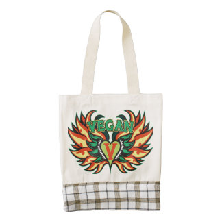 Vegan Wings Zazzle HEART Tote Bag