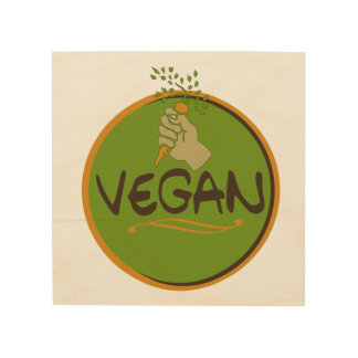 Vegan (with a fist) wood wall art