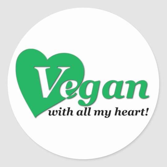 Vegan with all my heart classic round sticker