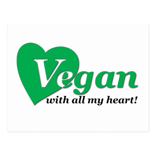 Vegan with all my heart postcard
