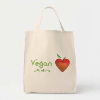 Vegan with all my heart (red apple heart) canvas bag