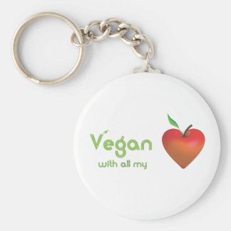 Vegan with all my heart (red apple heart) basic round button keychain