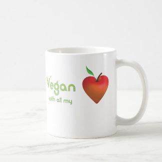 Vegan with all my heart (red apple heart) coffee mug