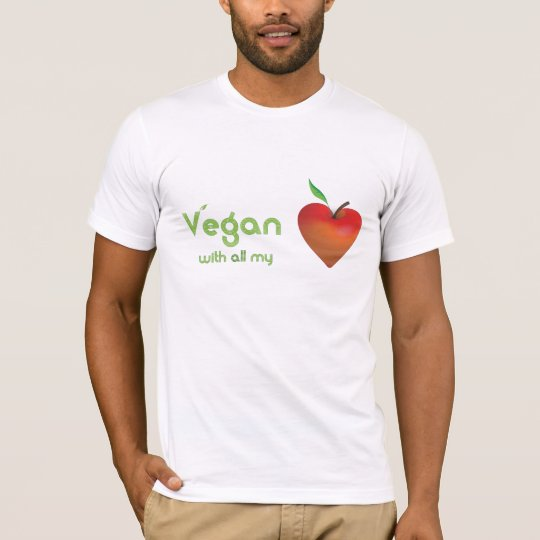 Vegan with all my heart (red apple heart - fitted) T-Shirt