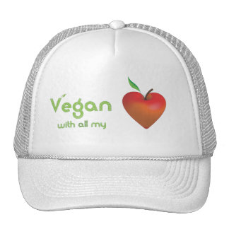 Vegan with all my heart (red apple heart) trucker hat