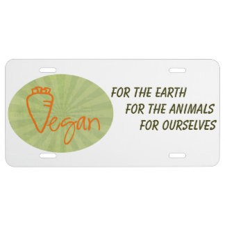 Vegan (with Carrot Graphic) License Plate