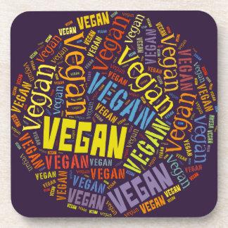 """Vegan"" Word-Cloud Mosaic Beverage Coaster"