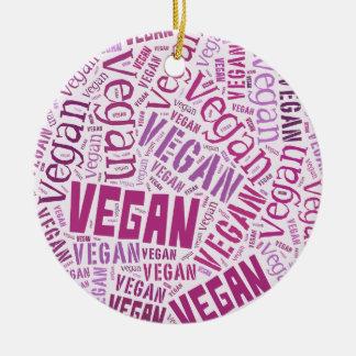 """Vegan"" Word-Cloud Mosaic Ceramic Ornament"