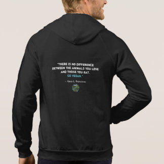"""Vegan"" Word-Cloud Mosaic Circle with Quote Hoodie"