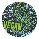 """Vegan"" Word-Cloud Mosaic Classic Round Sticker"