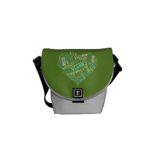 """Vegan"" Word-Cloud Mosaic (Heart) Courier Bag"