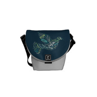 """Vegan"" Word-Cloud Mosaic (Peace Dove) Messenger Bag"