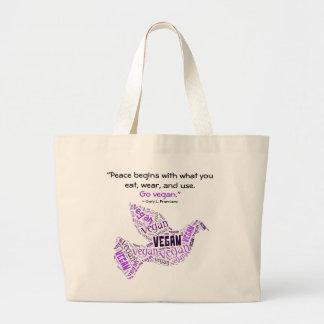 """""""Vegan"""" Word-Cloud Mosaic Peace Dove & Quote Jumbo Tote Bag"""