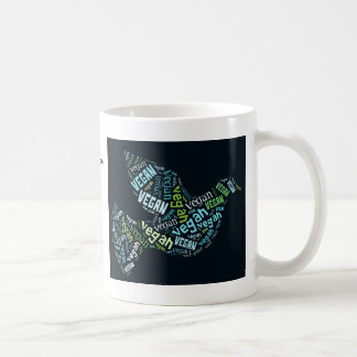 """Vegan"" Word-Cloud Mosaic - Peace Dove & Quote Coffee Mug"