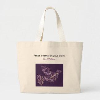 """""""Vegan"""" Word-Cloud Mosaic Peace Dove & Quote Large Tote Bag"""