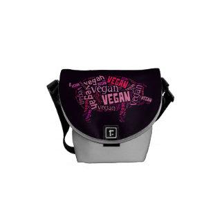 """Vegan"" Word-Cloud Mosaic (Pig) Messenger Bag"
