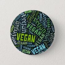 """Vegan"" Word-Cloud Mosaic Pinback Button"