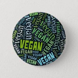 """Vegan"" Word-Cloud Mosaic Pinback Button"