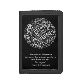 """Vegan"" Word-Cloud Mosaic & Quote Tri-fold Wallets"