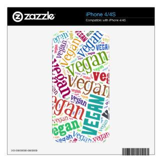 """Vegan"" Word-Cloud Mosaic iPhone 4 Decal"