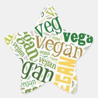 """Vegan"" Word-Cloud Mosaic Star Sticker"